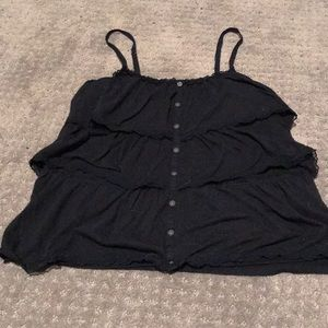 Navy blue tank top with ruffles